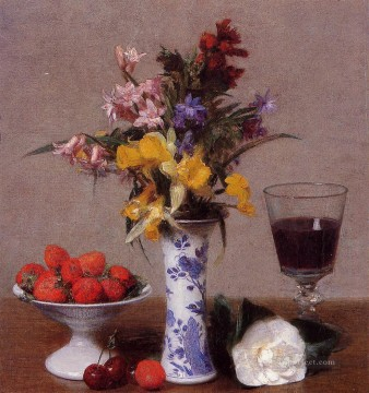 Still life Painting - The Bethrothal Still Life flower painter Henri Fantin Latour